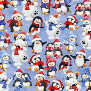 Bilde av Bomullstoff Blue Packed Animals Winter