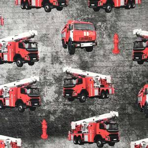 Bilde av BomullJersey print med brannbiler