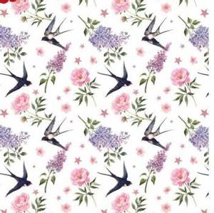 Bilde av Bomullsjersey med fugler og blomster hvit