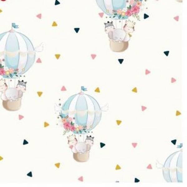 Bomullsjersey multiDyr i luftballong