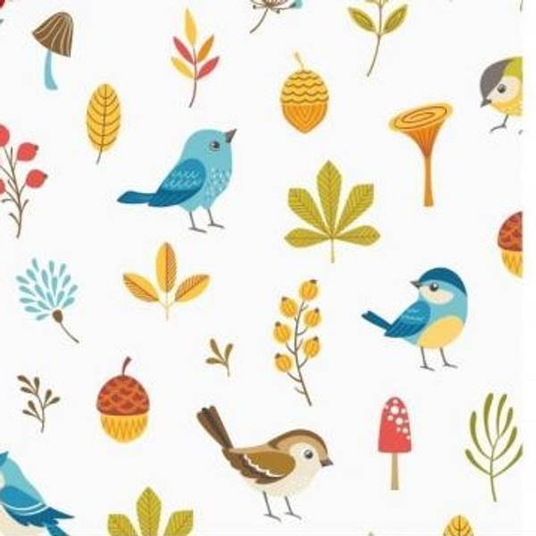 Bomullsjersey Søt Fugler og blad hvit