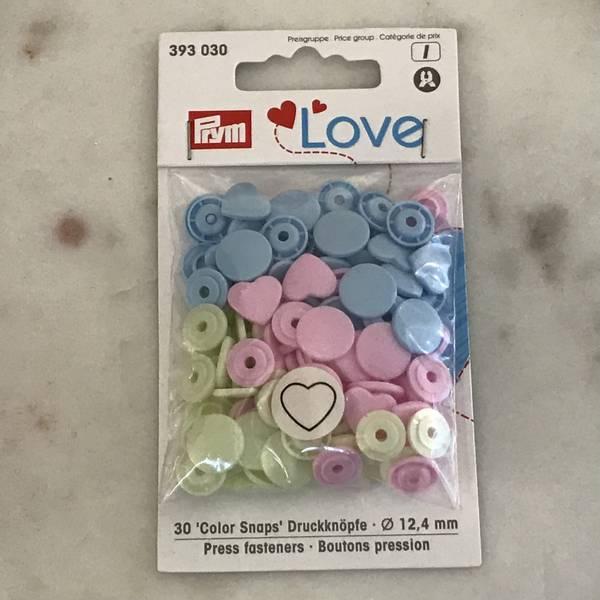 Prym Love – Trykknapper Snaps rosa blå grønn med hjerter Plast 1