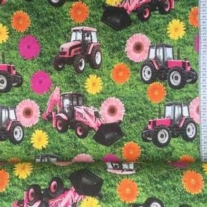 Bilde av Bomulljersey lys rosa Traktor