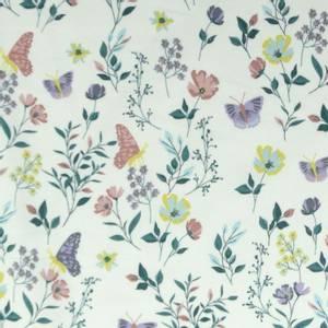 Bilde av Bomullsjersey offwhite med sommerfugler og