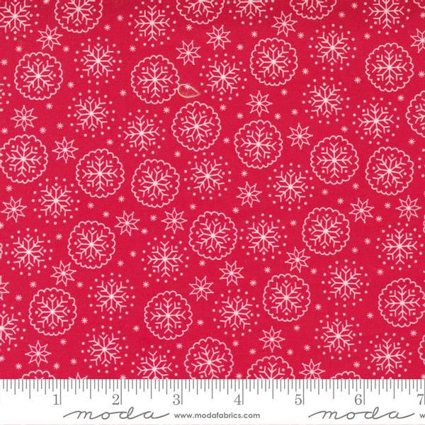 Bomullstoff Moda Holiday Christmas snø rød